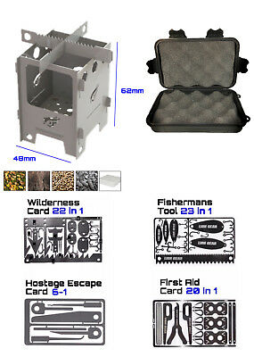 4 Pce Survival Card Set & Stove + Waterproof Case