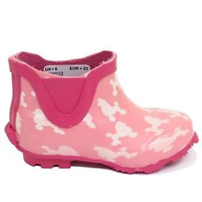 Kids Ankle Wellies Girls Pink Slip On Waterproof Rain Wellington Boots Size 4-9