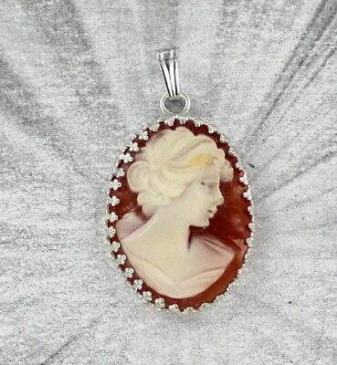 Vintage shell cameo pendant necklace carved italy sterling vintage hand carved italian shell cameo pendant necklace sterling aloadofball Image collections