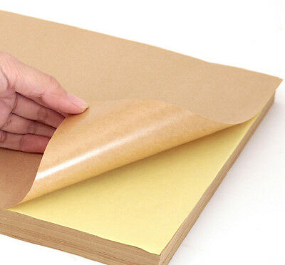 20 x Blank A4 Self Adhesive KRAFT Brown Sticker Paper Silhouette Craft Sheets