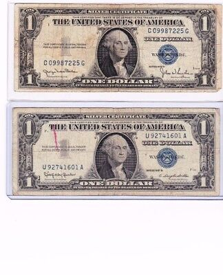 Lot Of 2, 1935 & 1957 Blue Seal $1 One Dollar Silver Certificate Bills w holders