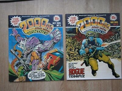 BEST OF 2000AD MONTHLY #1 & #2 1985 Vintage comics. Judge Dredd Tharg No.1 No.2