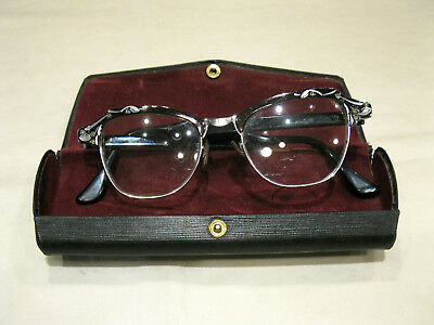 Vintage Bausch & Lomb Cat Eye Glasses w/ Case 50's/60's 4 1/2 - 5 3/4