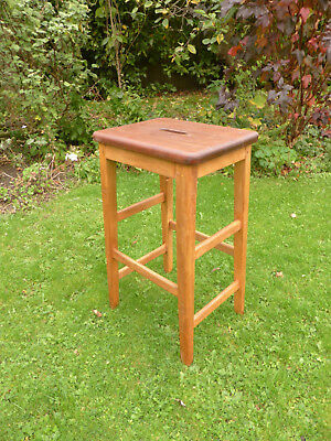 Vintage Lab Stool. Beech with Mahogany Top + Hand Hole.
