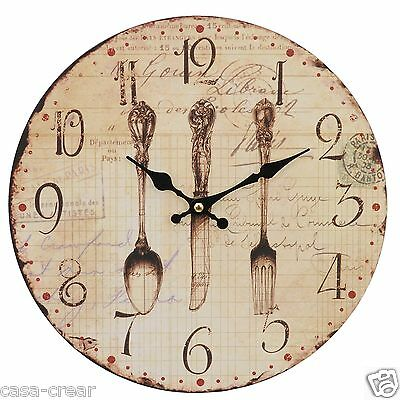 Clayre & Eef Wall Clock Country House Antique Nostalgia Knife Fork Spoon Cutlery