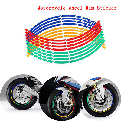 16 Strips Multicolor Motorcycle Wheel Rim Sticker Tape Decal 17 or 18 inch