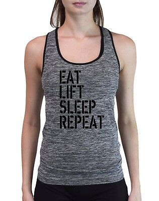 Eat Sleep Train Repeat Girls Vest Tee Top Gym Workout Fitness JC015