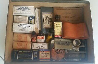 Vintage Medical Supplies,Dressings, Bandages,First Aid book,Iodine,1st aid book