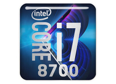 "Intel Core i7 8700 1""x1"" Chrome Effect Domed Case Badge / Sticker Logo"