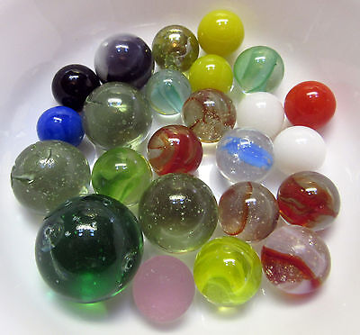 LOT 24 Marbles Antique Handmade Marbles Clear Glass Vintage Cats Eyes Melon Ball