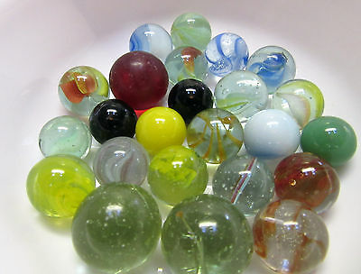 LOT 24 Marbles Antique Handmade, Clear Glass, Vintage, Frosty, Cats Eyes, Swirls