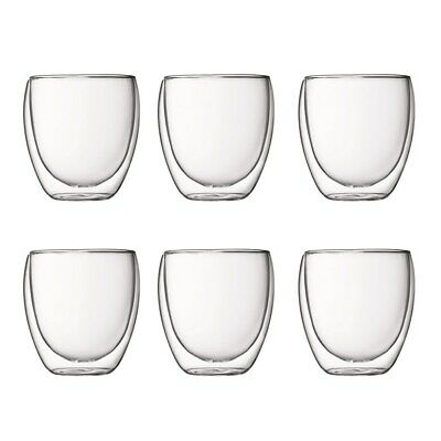 New Bodum Pavina Double Wall Glass 250ml Set of 6