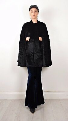 Vintage 50s 60s Persian Lamb Astraka Faux Fur Cape Halloween Gothic Vamp 8-12