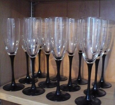 12 LUMINARC ARCOROC BLACK STEM CRYSTAL CHAMPAGNE FLUTES GLASSES  FRANCE 6 oz