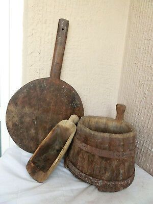 EARLY Primitive Wooden Rustic Farm Pail Milk Bucket w handle 2 wrought iron band