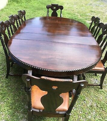 "60"" Acanthus Carved Mahogany Dining Table With 8 Chairs, 3-12"" Leaves"