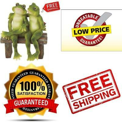 Garden Frogs 2 Figurine Statue Bench Outdoor Decor Yard Home Lawn Gift Model New