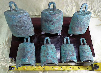Ancient Chinese Bronze Bells. Graduated Set of 7! c. W. Zhou Dynasty 1100-770 BC
