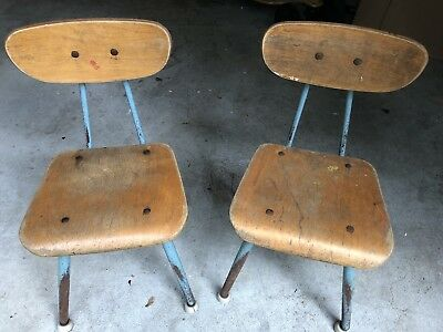 Pair Of 2 Vintage Mid Century Classmates American Seating Co School Chairs