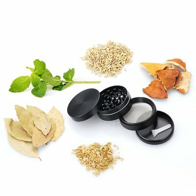 Tobacco Herb Grinder Spice Herbal Zinc Alloy Smoke Crusher 4 Piece 2-Inch Black
