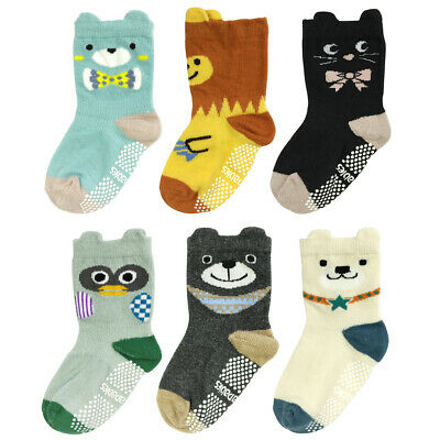 Wrapables Peek A Boo Animal Non-Skid Toddler Socks, Bears and Buddies (Small)