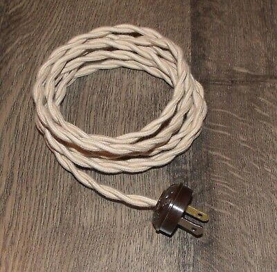BEIGE ~ 8' Vintage Lamp Cord ~ Twisted Cloth Covered Wire w/ Acorn Plug ~ by PLD