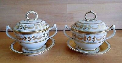 Early 19Th Century Paris Porcelain Pair Of Eculle Cups Covers On Dagoty Stands