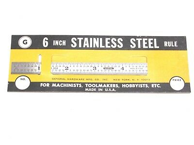 """NEW! GENERAL TOOLS 6"""" FLEXIBLE STAINLESS STEEL RULE, 32nd 64th, No. 304"""