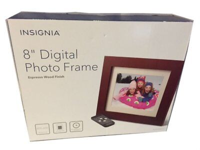 "Insignia 8"" Digital Photo Frame - Espresso Wood Finish NS-DPF08WW-16 In Box - VG"