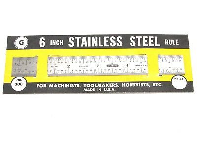 """NEW! GENERAL TOOLS 6"""" x 3/4"""" FLEXIBLE STAINLESS STEEL RULE, 32nd 64th, No. 308"""
