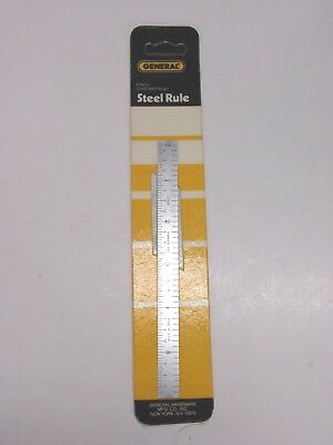 """NEW! GENERAL TOOLS 6"""" FLEXIBLE STAINLESS STEEL RULE, 8th 16th 32nd 64th, CF-634"""