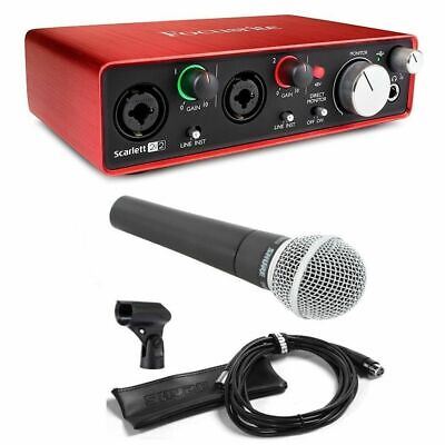 Focusrite Scarlett 2i2 (2nd Gen) with Shure SM58 Microphone home Recording Pack