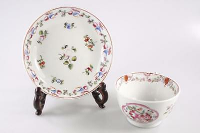ANTIQUE 18th Century POLYCHROME TEA BOWL AND SAUCER NEW HALL STYLE