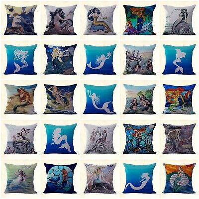 US Seller stained glass mermaid cushion cover decorator throw pillow cover