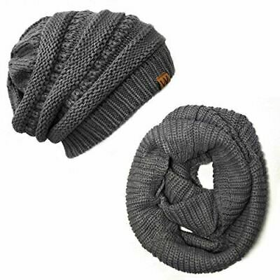 Wrapables Winter Warm Knitted Infinity Scarf and Beanie Hat Set, Charcoal Grey