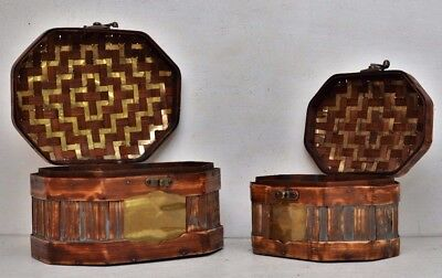 Pair of Bent Wood Brass Covered Basket Trunk Mid Century Wicker Chest Storage