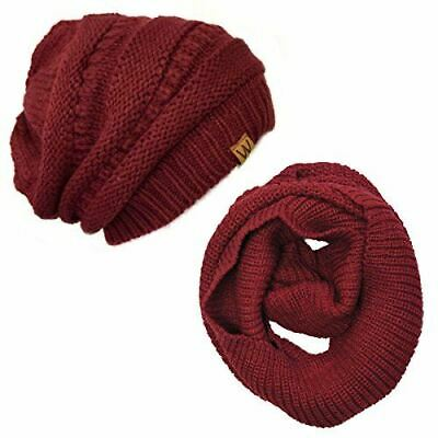 Wrapables Winter Warm Knitted Infinity Scarf and Beanie Hat Set, Burgundy