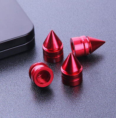 4X Red Spike Cone Tire Rim Valve Wheel Air Port Dust Covers Stem Caps New Style