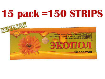 SALE! 150 strips Ecopol combating bee treatment varroa and acarapidosis drugs.