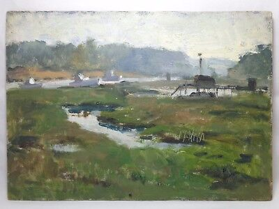 George Augusta (American, 1922-2012) Unsigned O/b Seacoast Landscape Inlet/boats