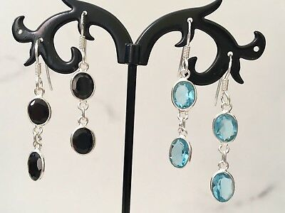 925 Sterling Silver Blue Topaz Black Onyx 2 Gemstone Round Disc Oval Earrings