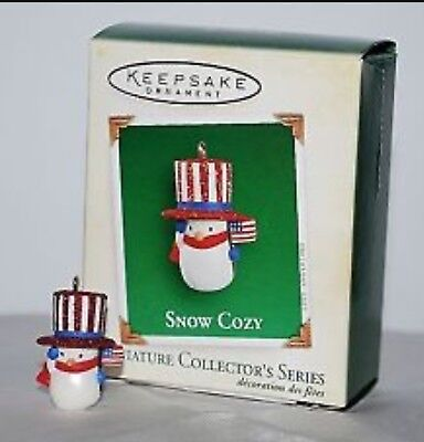 Hallmark 2005 Snow Cozy Snowman Series Miniature Christmas Ornament