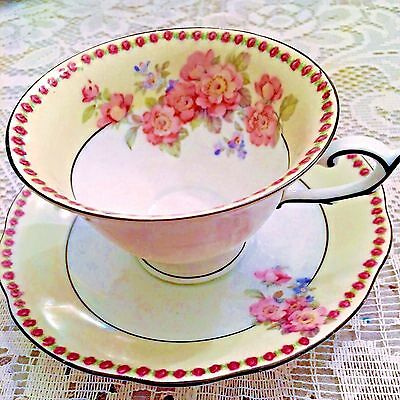 Schumann Dresden Bavaria Dec No 4 Pink Floral Footed Tea Cup and Saucer