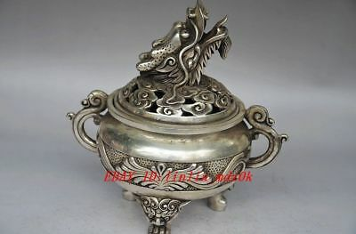Collectible Chinese Silver Copper Handwork Dragon Incense Burner