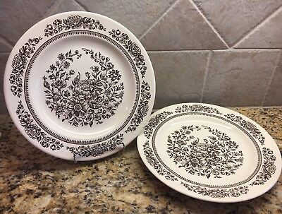 ROYAL CHINA USA Americana Sussex Brown Cavalier Ironstone Dinner Plates Set  of 2