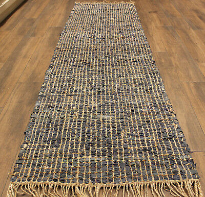 STUNNING Leather / Jute Hall Runner  Rug   * 3  m  x  0. 72  m *   BRAND NEW