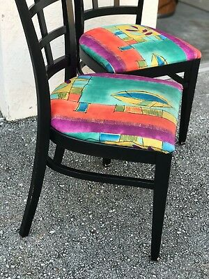 Restaurant wood chairs black with multicolor seat 82 units
