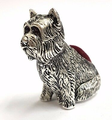 Antique Style Scotty Dog Pin Cushion With Ruby Eyes 925 Silver Plate