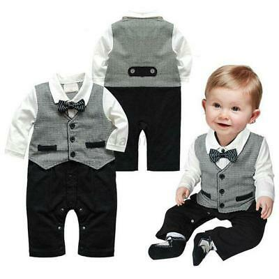 0-18M Baby Boy Formal Suit Party Wedding Tuxedo Gentleman Romper Jumpsuit Outfit