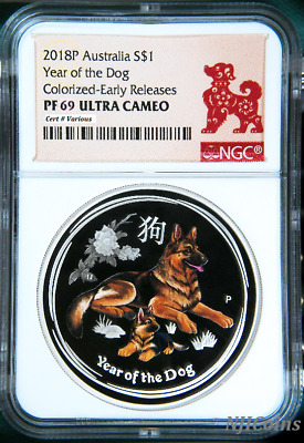 2018 Australia PROOF Colored Silver Lunar Year of the DOG NGC PF69 1oz Coin